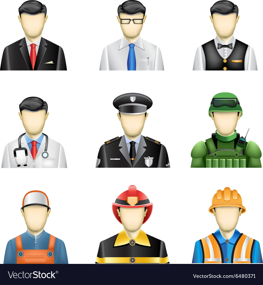 Male job icons vector image