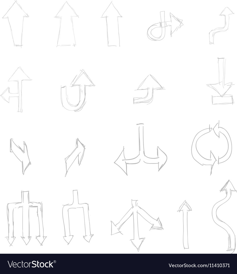 Set of hand drawn universal isolated arrows