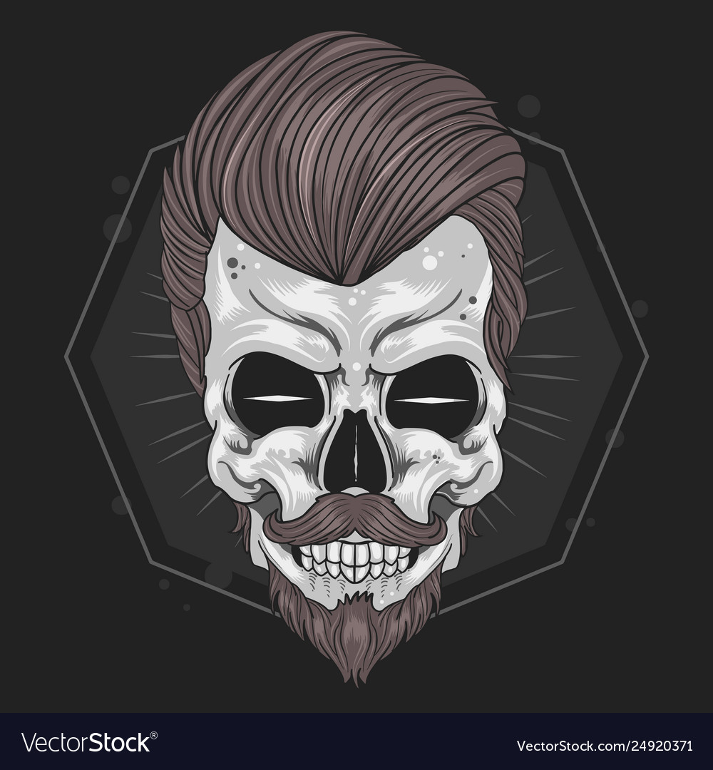 Skull barber hair mustache element