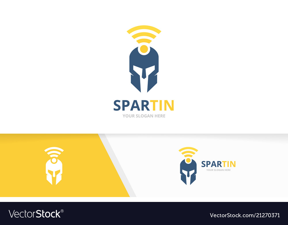 Spartan and wifi logo combination helmet