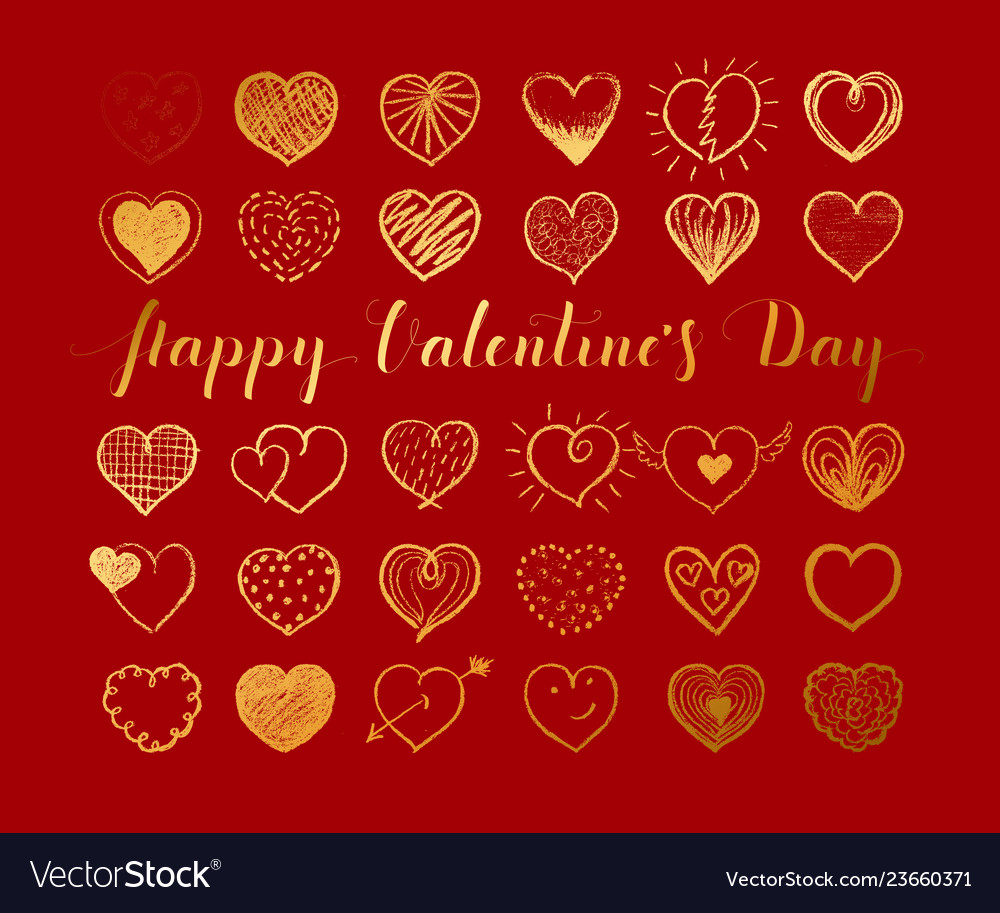 Valentines day background with gold hand drawn