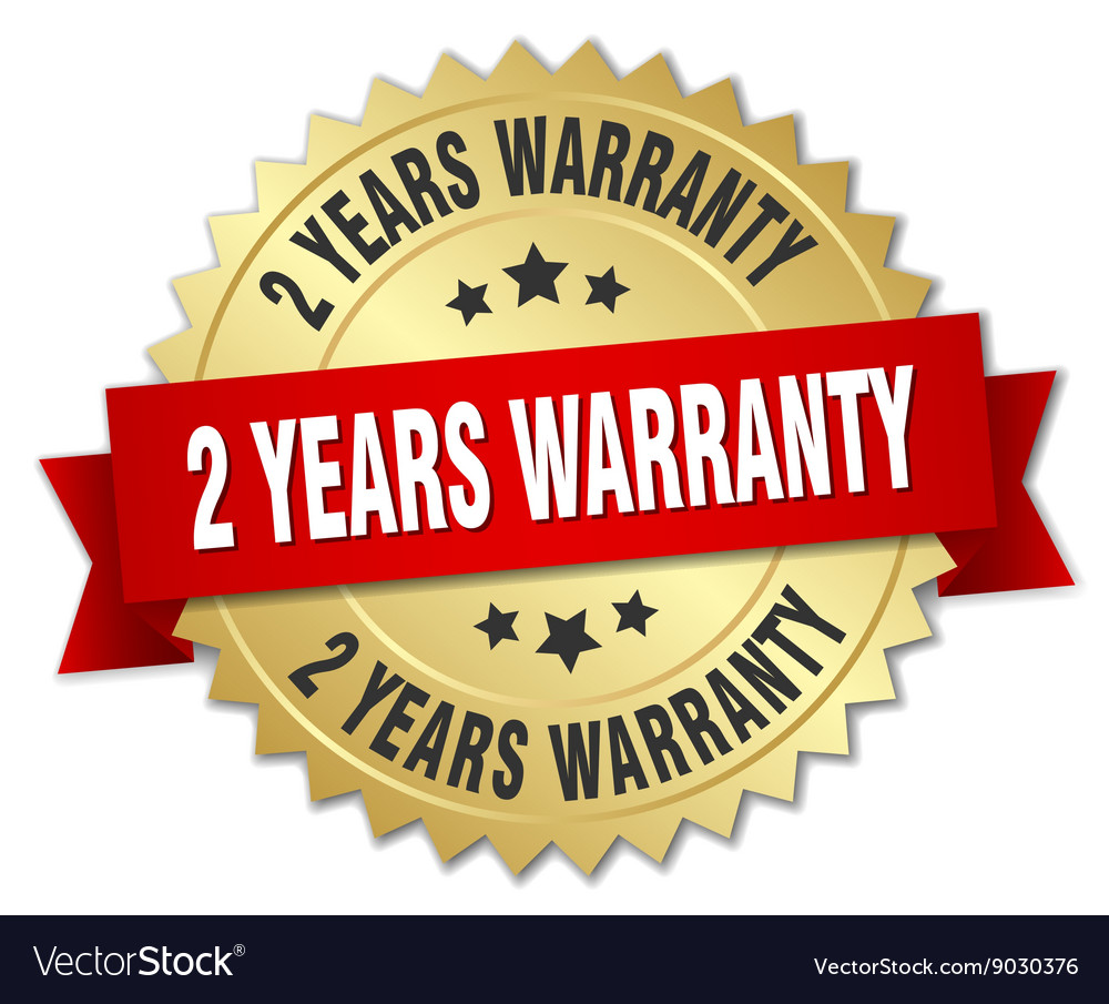 2 years warranty 3d gold badge with red ribbon