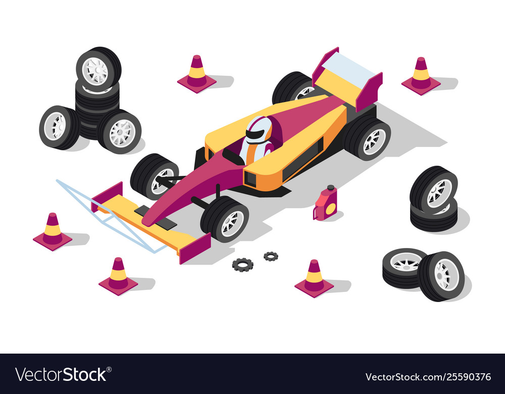 3d isometric sport car at pit stop with wheels
