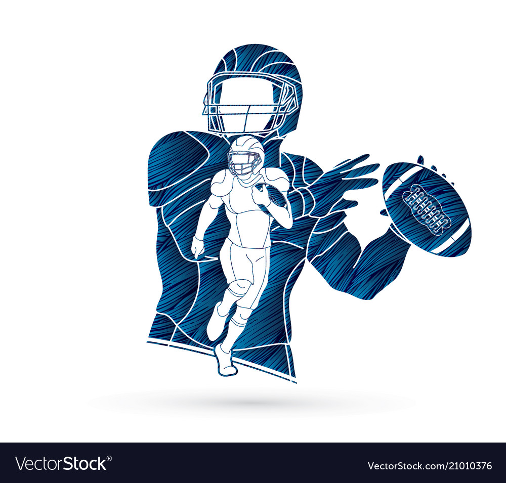 American football player action sport concept