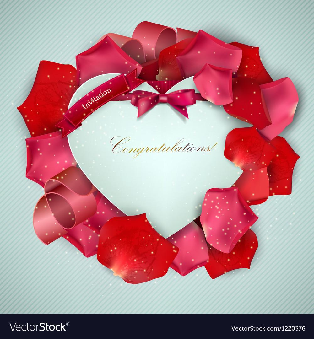 Beautiful vintage invitation with rose petals