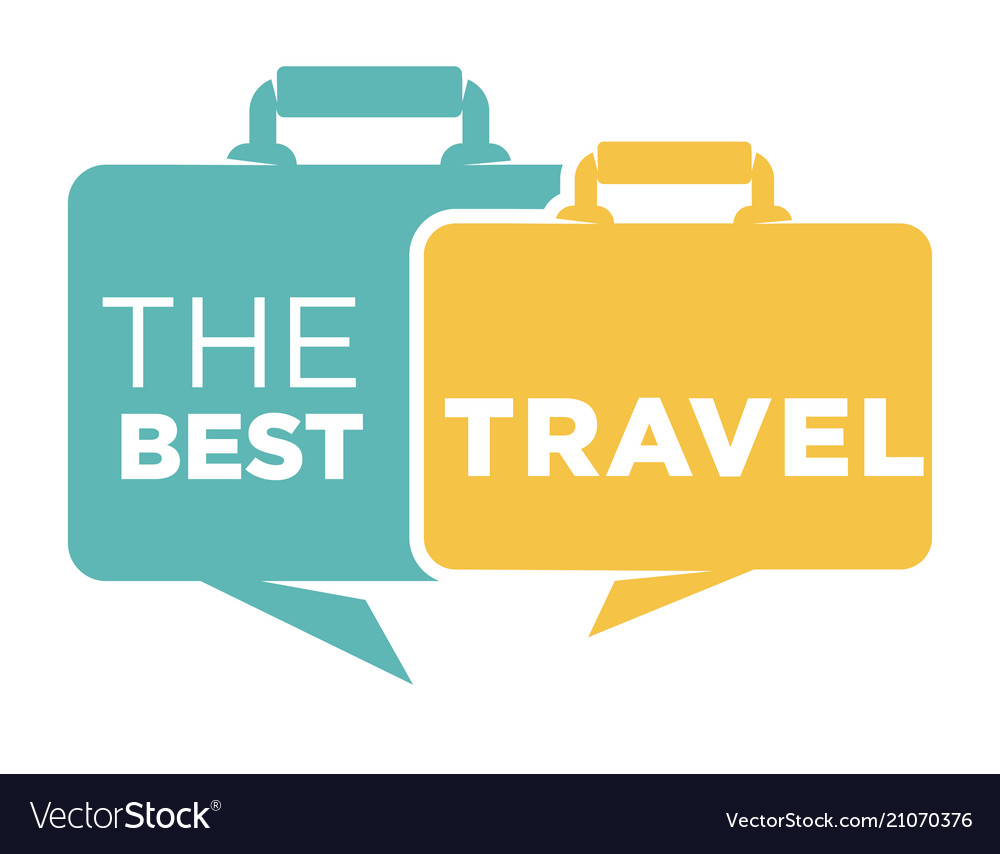 Best travel agency promo emblem with suitcases