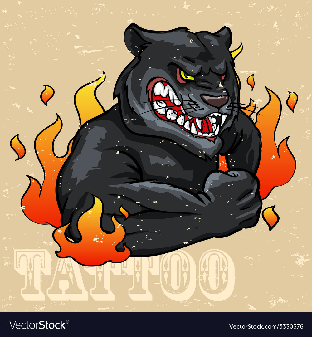 Black Panther Tattoo Design vector image