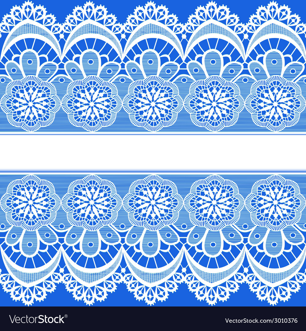 Blue background with stripes of lace vector image