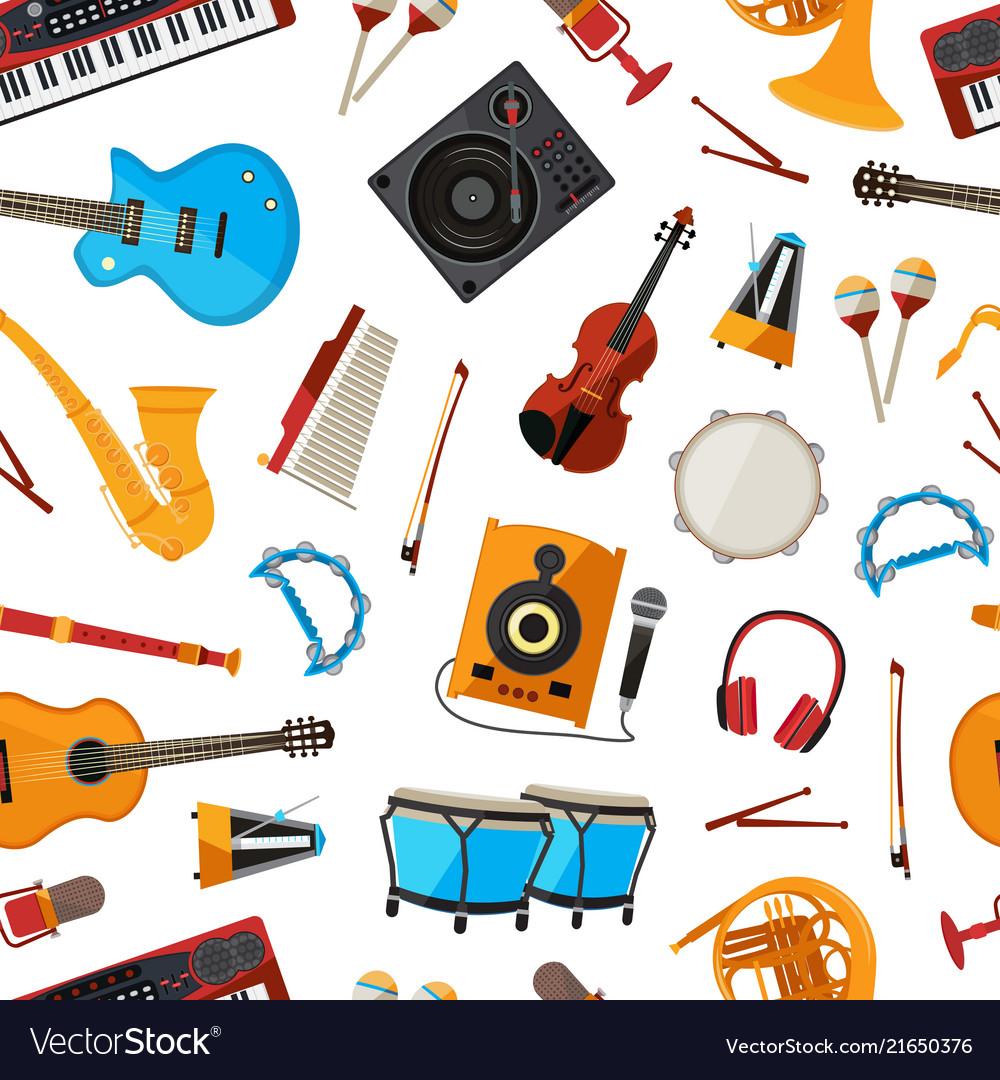 Cartoon musical instruments pattern
