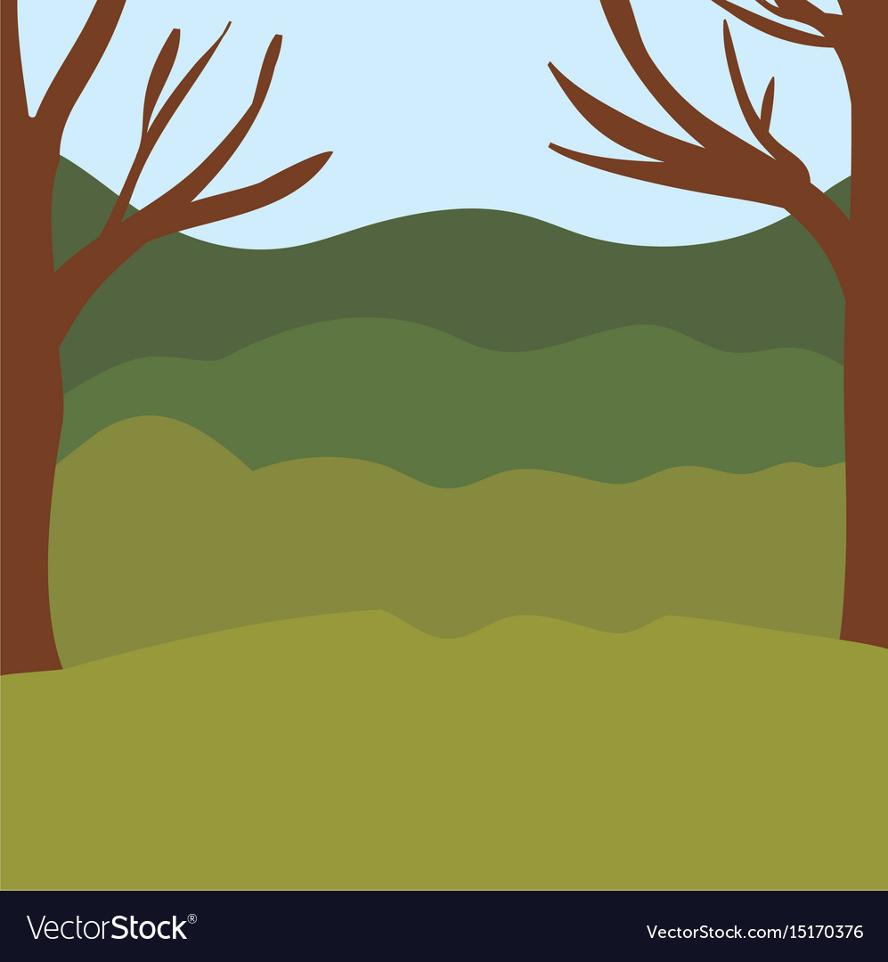 Colorful background with trees and mountains