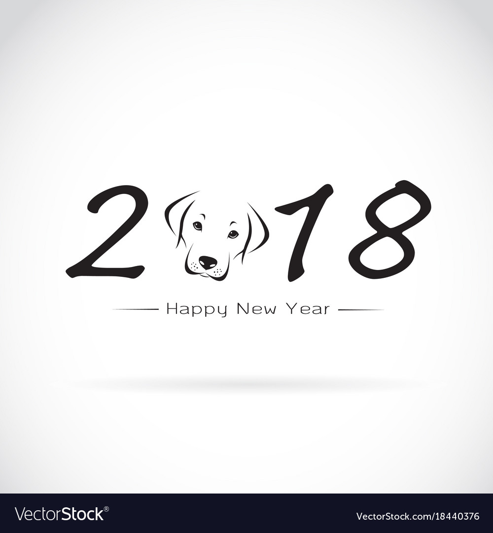Dog 2018 new year card year of