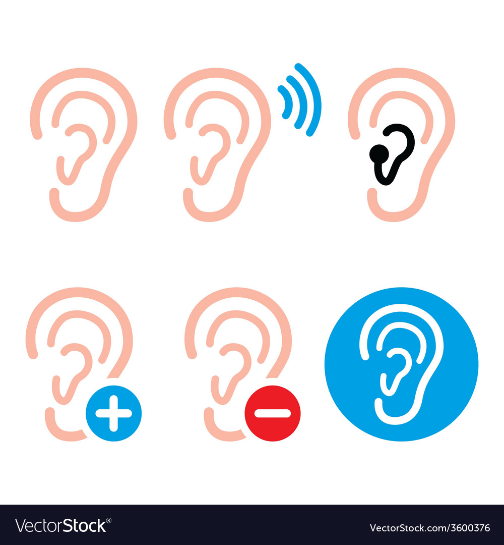 Ear Hearing Aid Deaf Person Health Problem Icon Vector Image