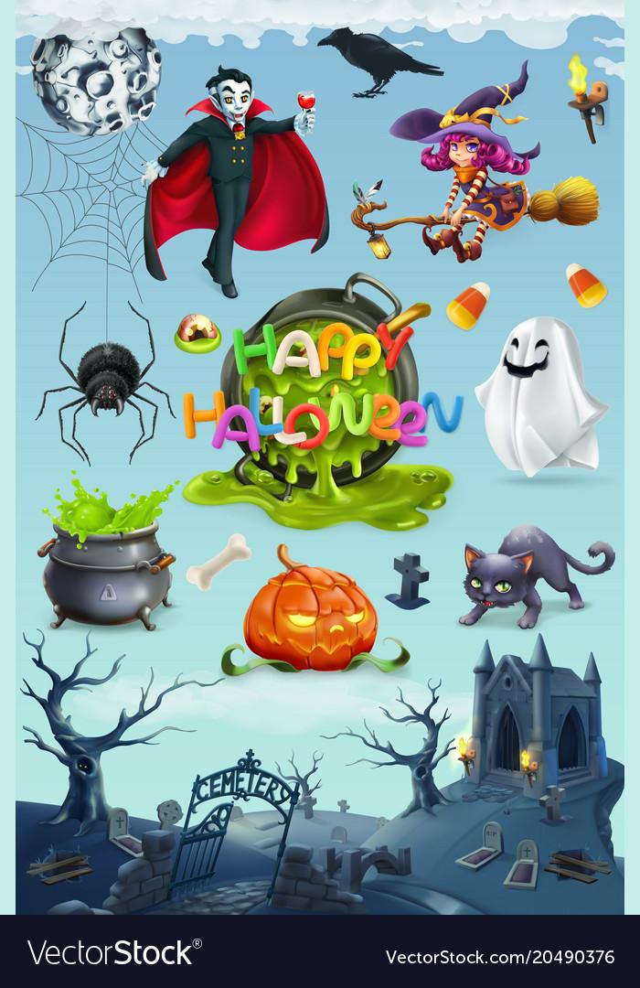 Happy halloween pumpkin spider cat witch vampire