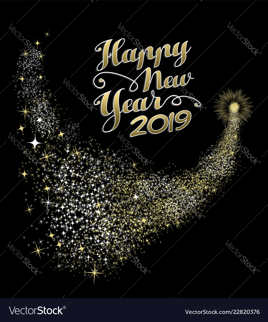 Happy new year 2019 gold firework greeting card