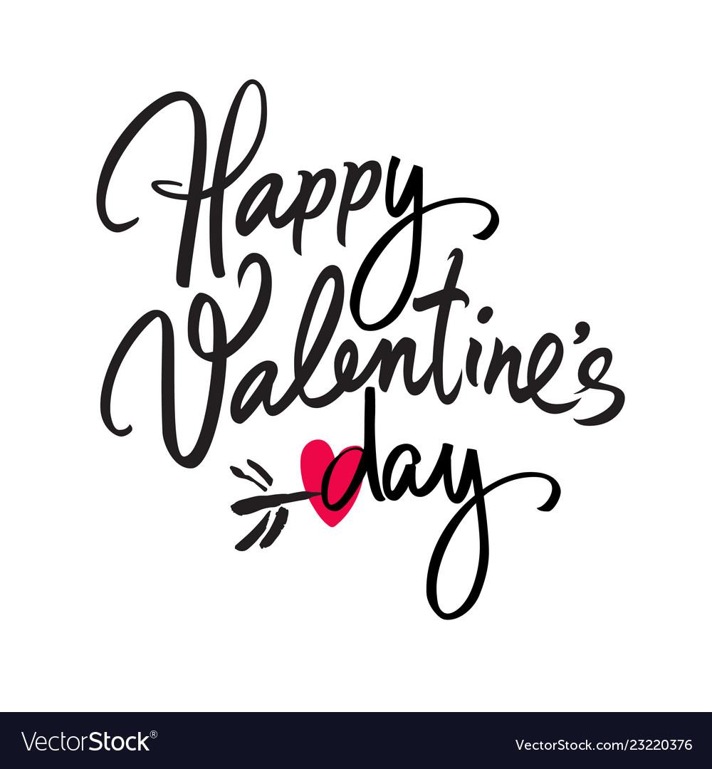 Happy valentines day handwritten lettering black