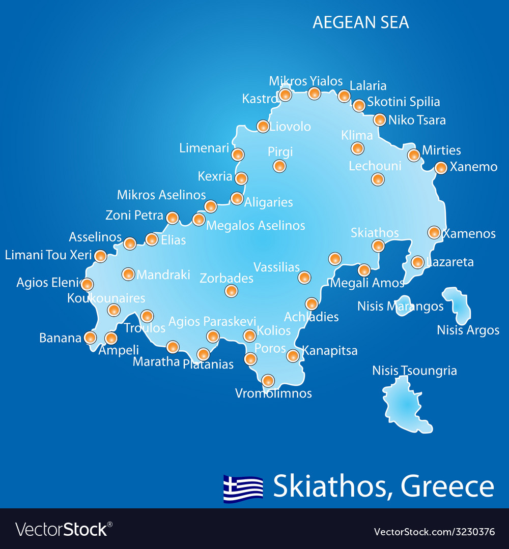 Poros Greece Map.Island Of Skiathos In Greece Map Royalty Free Vector Image