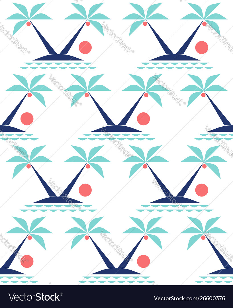 Minimal tropical landscape with coconut palm tree
