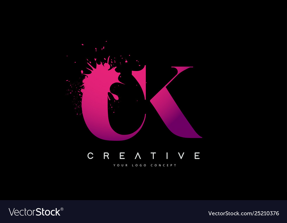 Purple pink ck c k letter logo design with ink Vector Image