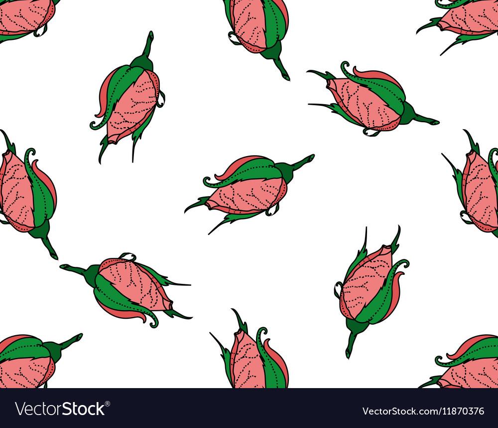 Rosebuds Seamless background pattern Hand drawn