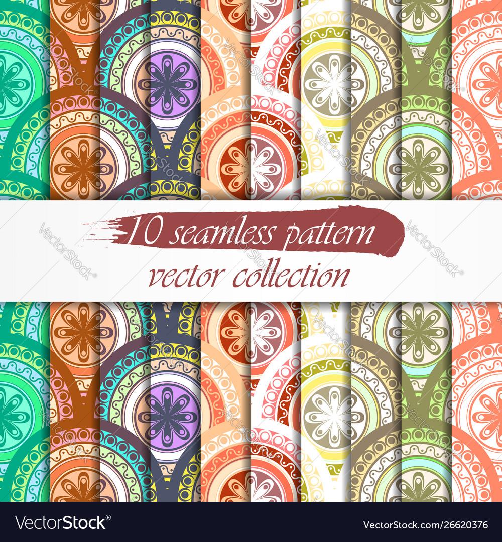 Seamless abstract geometric pattern set seamless