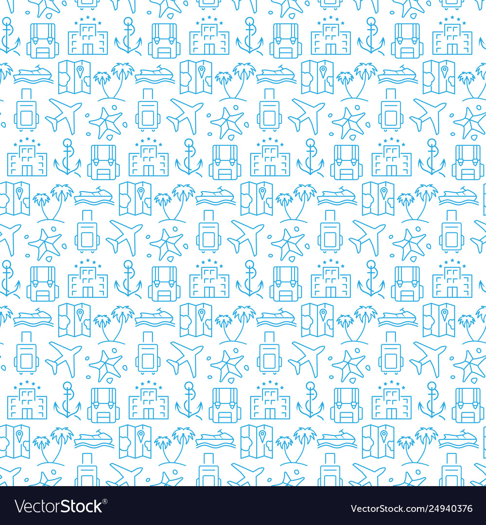 Seamless pattern with icons travel items