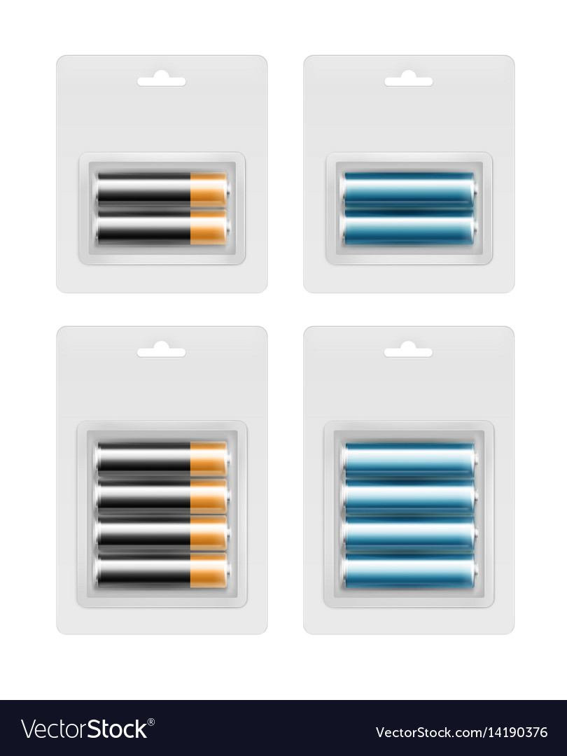 Set of batteries in transparent blister packed