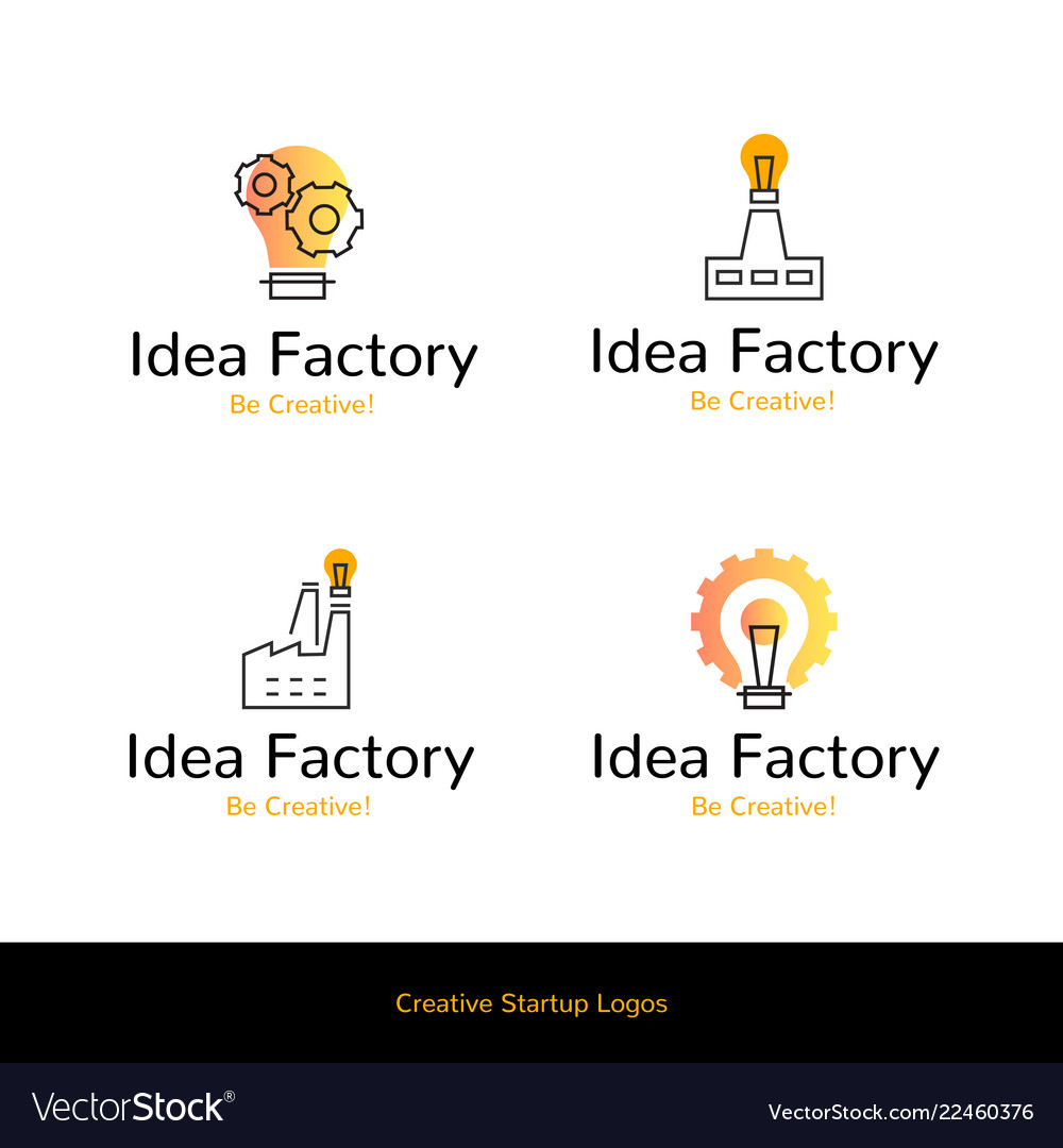 Simple flat line icons idea factory creative