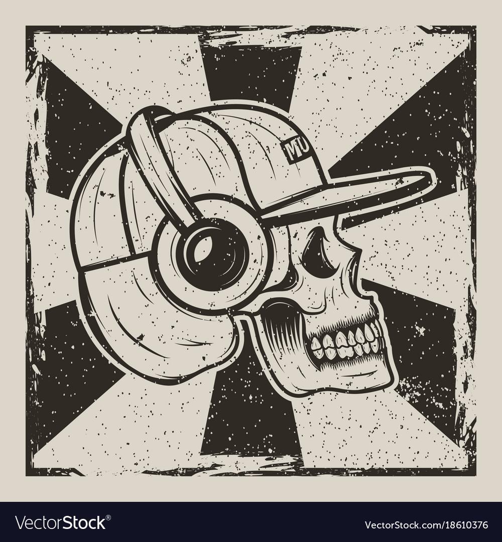 Skull music side view vintage grunge design