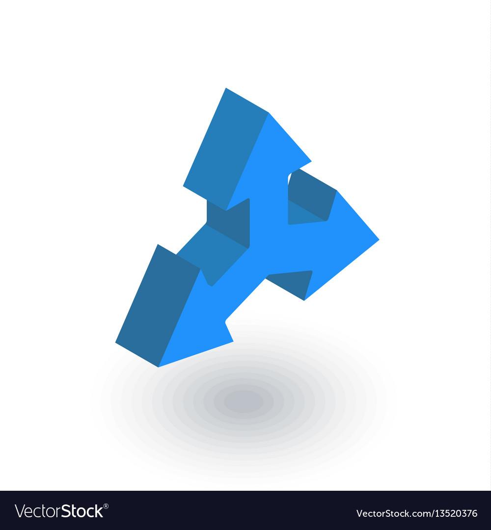 Three-way direction arrow isometric flat icon 3d
