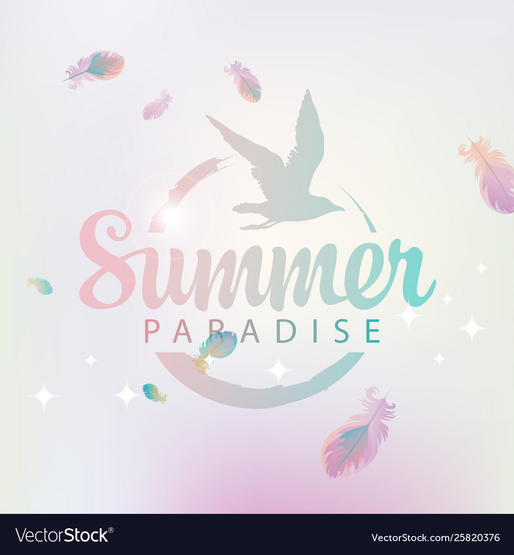 Travel banner with words summer paradise and gull