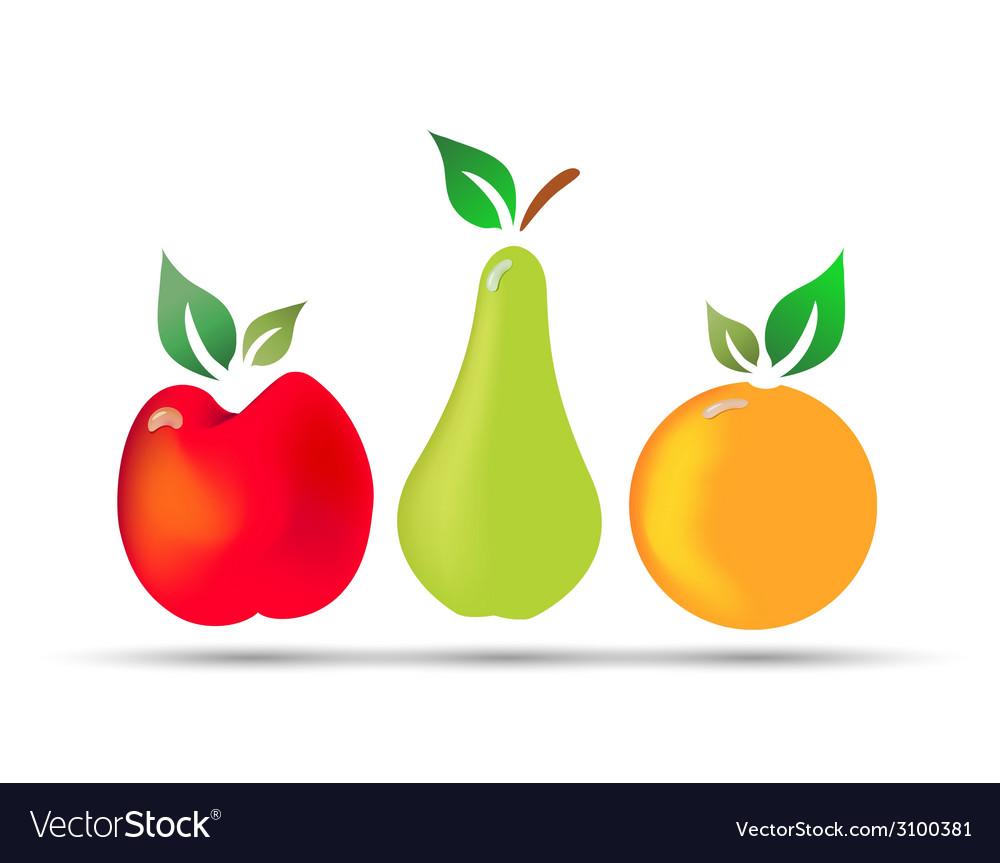 Apple pear orange fresh fruit with drops of dew