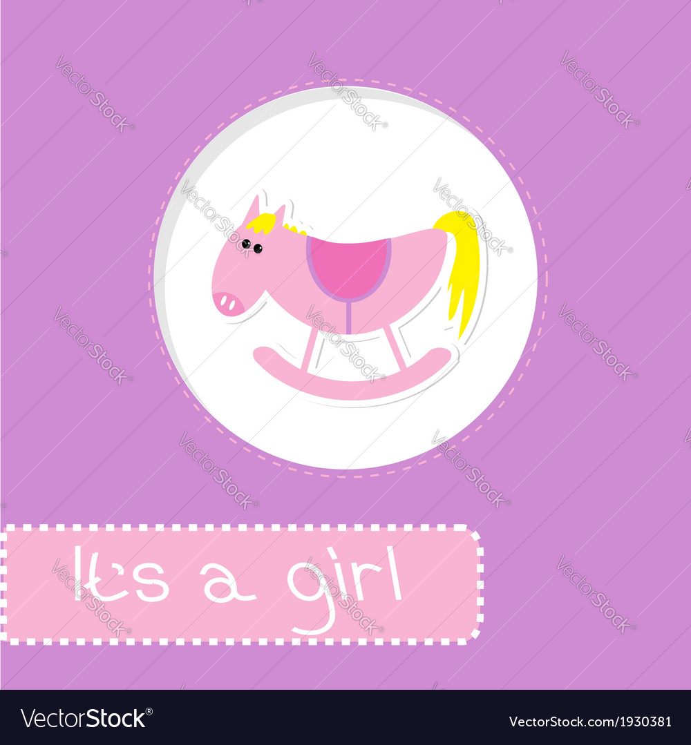 Baby girl shower card with cute horse