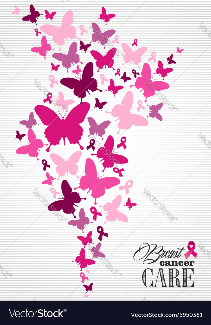 Breast cancer awareness butterfly ribbon poster vector image
