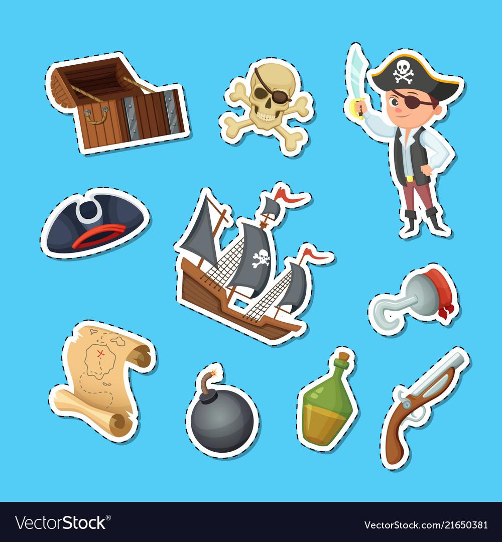 Cartoon sea pirates stickers set