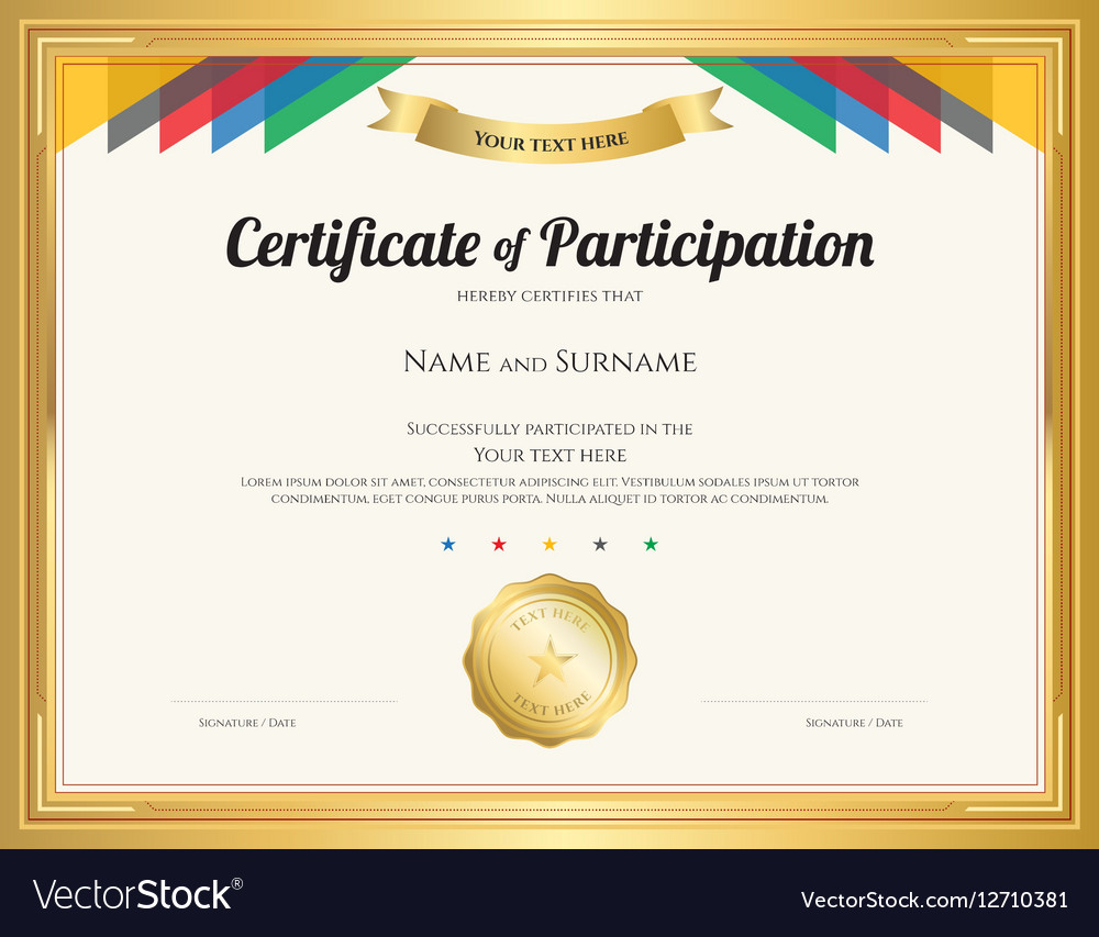 Certificate participation template Royalty Free Vector Image Regarding Free Templates For Certificates Of Participation
