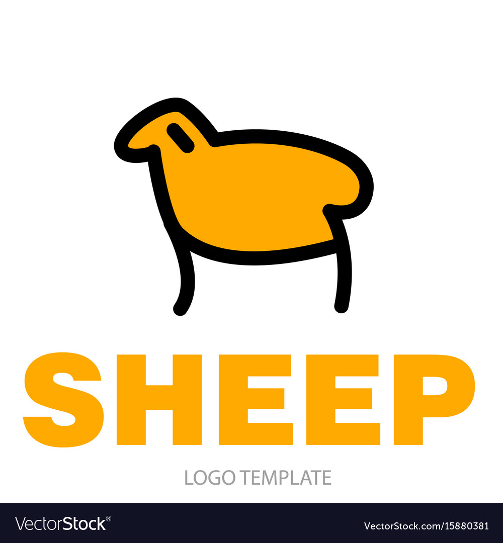Color stylized drawing of sheep or ram