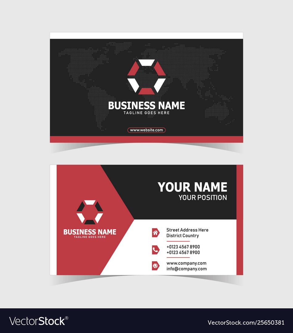 Corporate double-sided business card template Vector Image Within 2 Sided Business Card Template Word