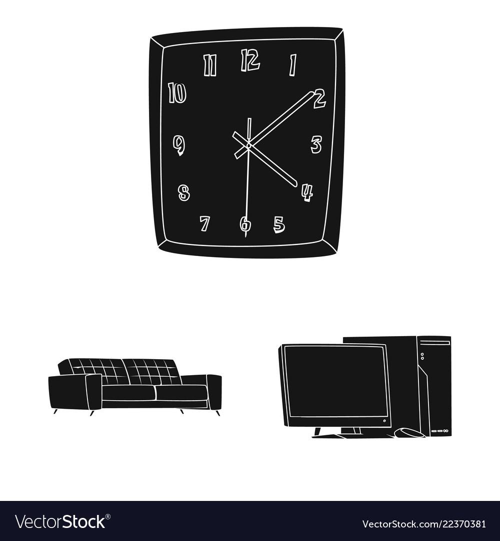 Design of furniture and work logo set of