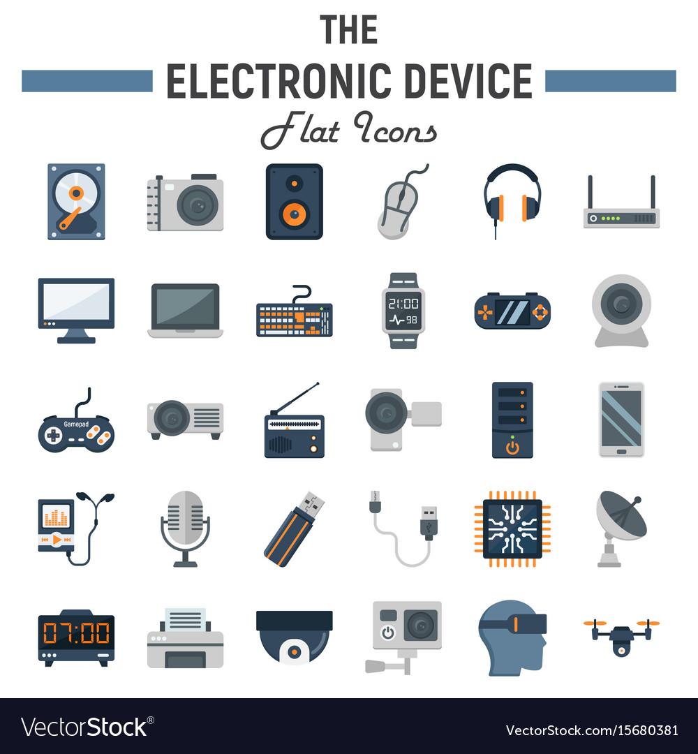 Electronic device flat icon set technology