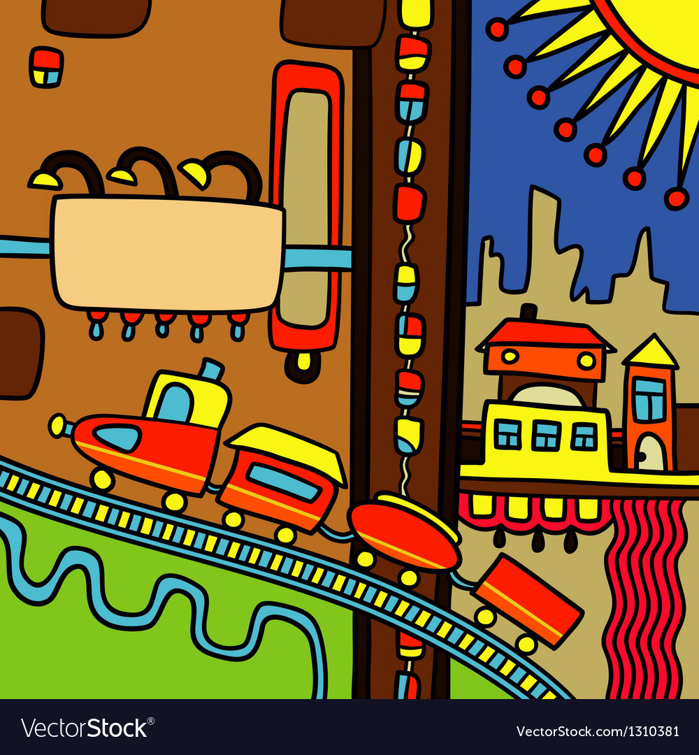 Hand draw city abstract composition vector image