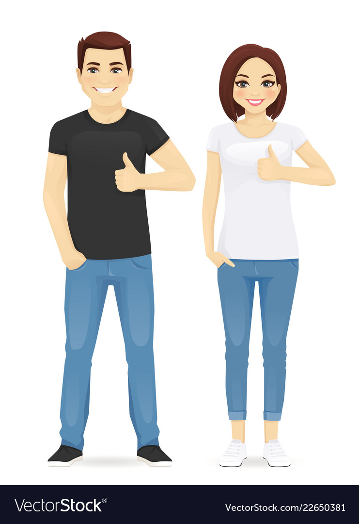 Man and woman showing thumb up