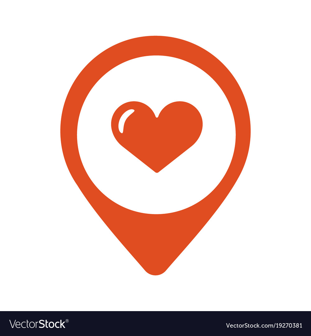 Map pointer with heart icon
