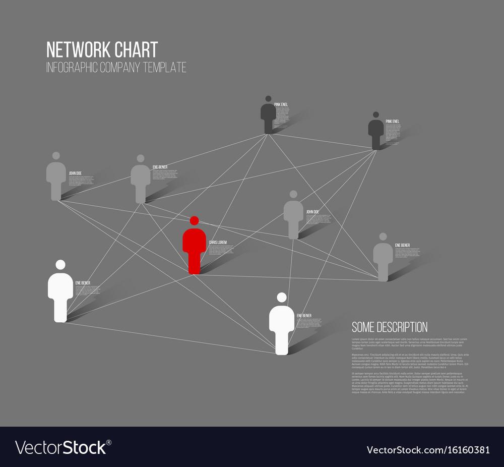 Minimalist network 3d chart vector image