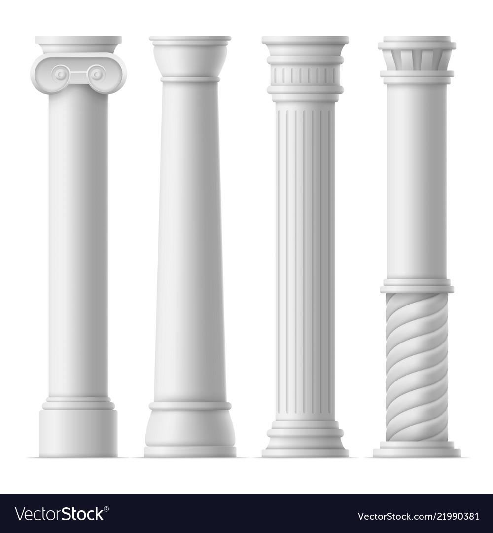 Realistic detailed 3d ancient columns set