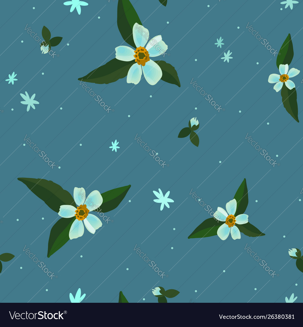 Seamless floral pattern with apple blossom flowers