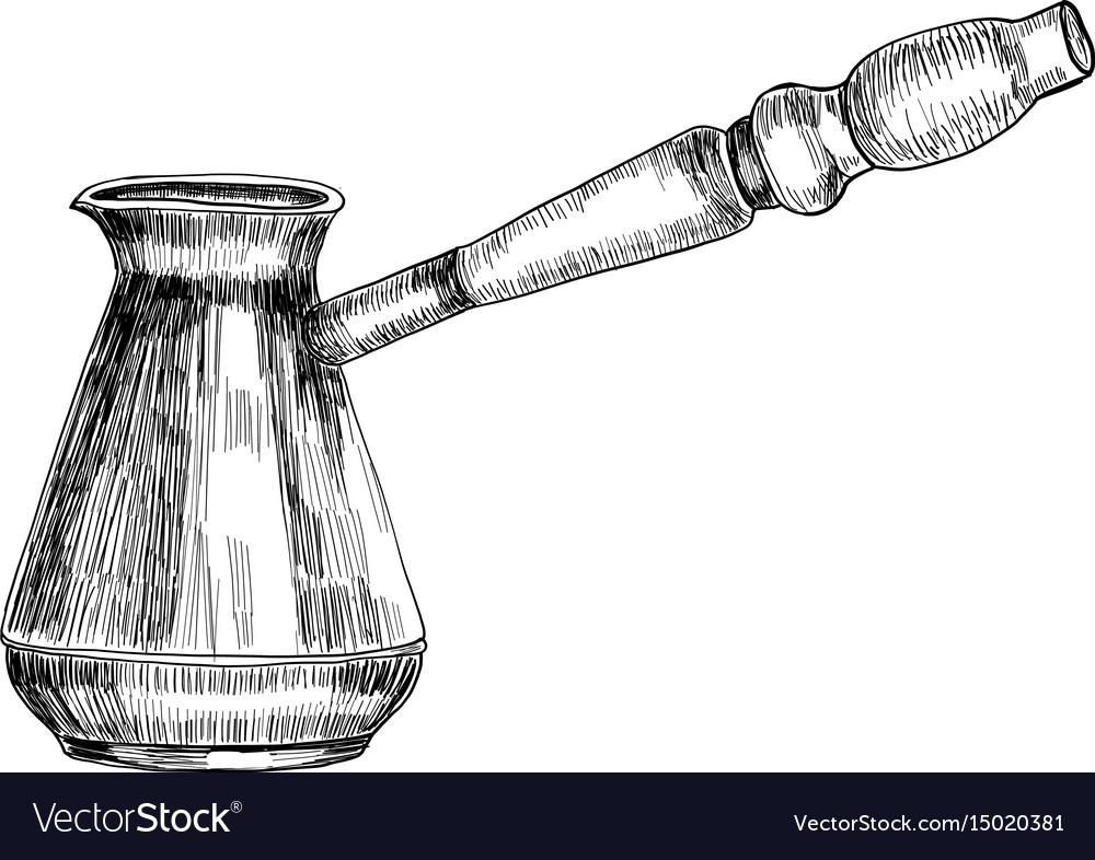 Turkish coffee maker cezve hand drawn sketch vector image