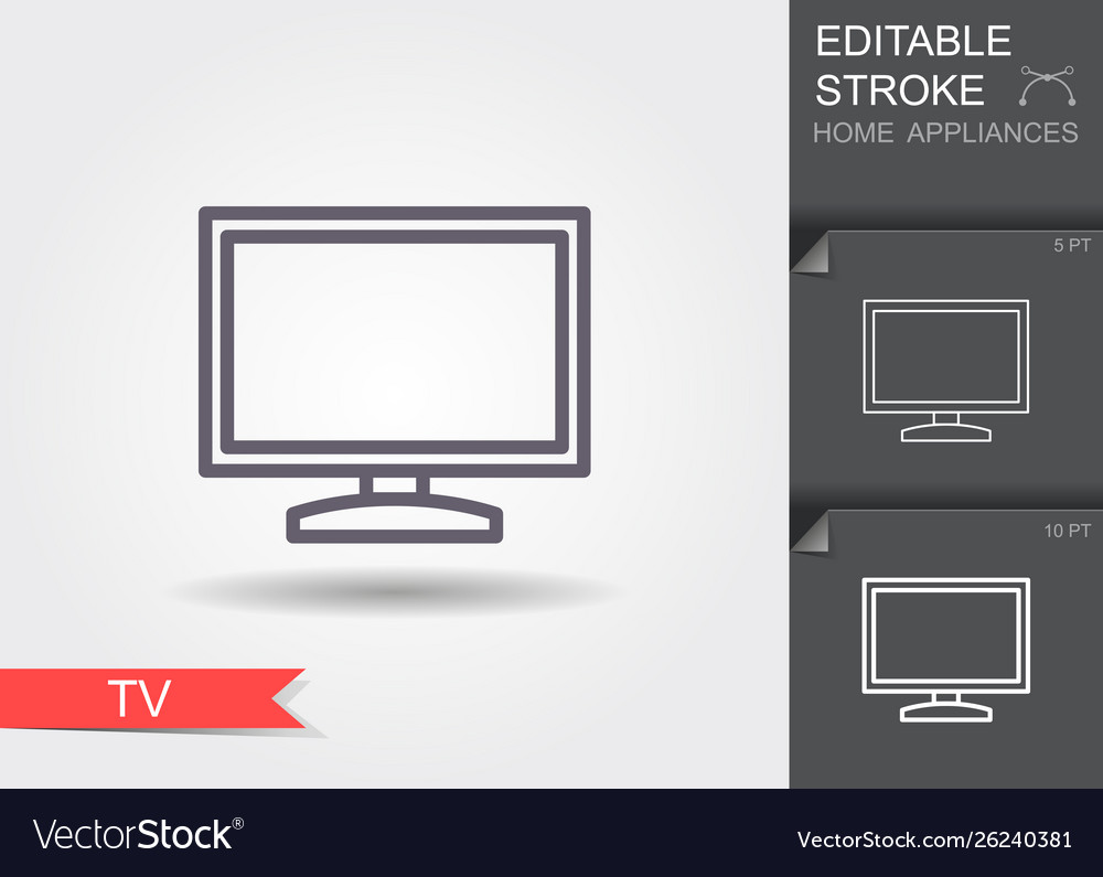 Tv line icon with editable stroke with shadow