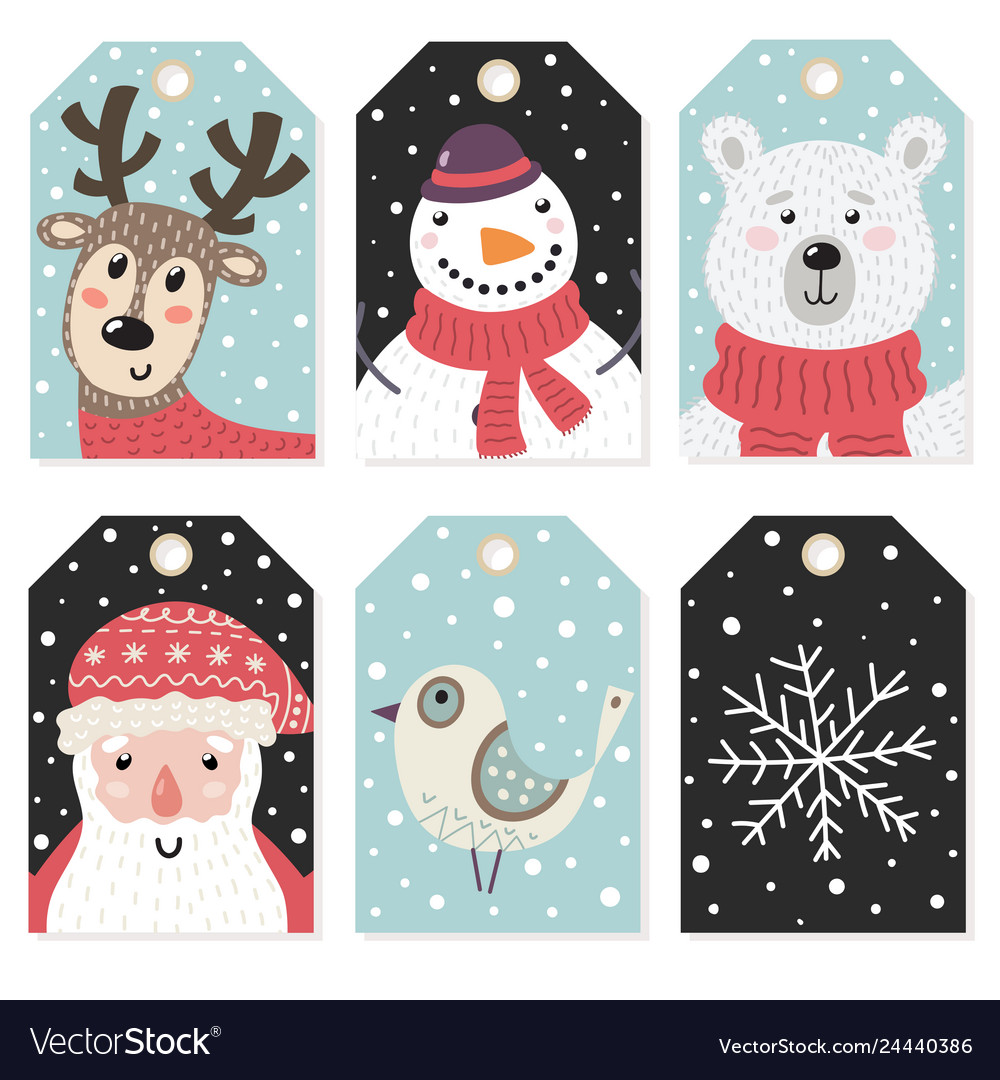 Christmas tags set with cute characters