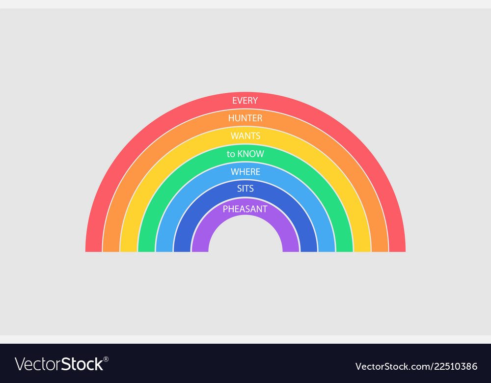 Colorful rainbow on gray background every hunter