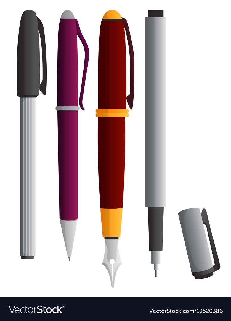 Different Types Of Pens Royalty Free Vector Image